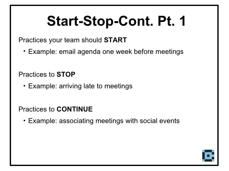 start stop continue template - teaming presentation
