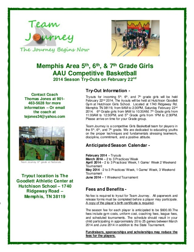 Memphis Area 5th, 6th, & 7th Grade Girls AAU Competitive Basketball 2014 Season Try-Outs on February 22 nd  Contact Coach ...