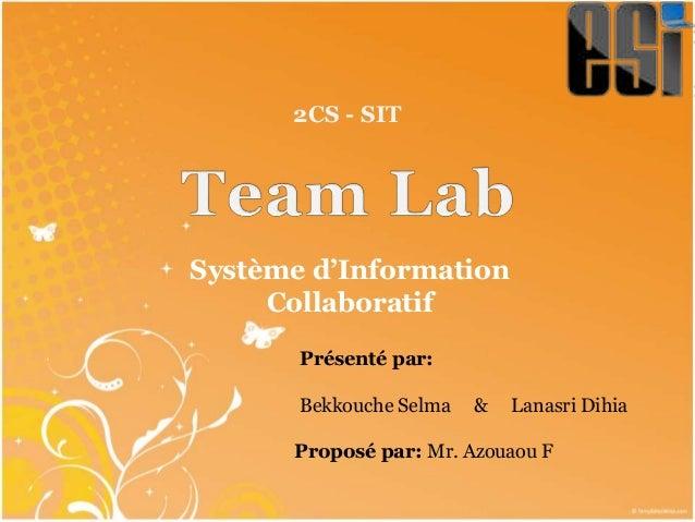 Système d'Information Collaboratif 2CS - SIT Présenté par: Bekkouche Selma & Lanasri Dihia Proposé par: Mr. Azouaou F