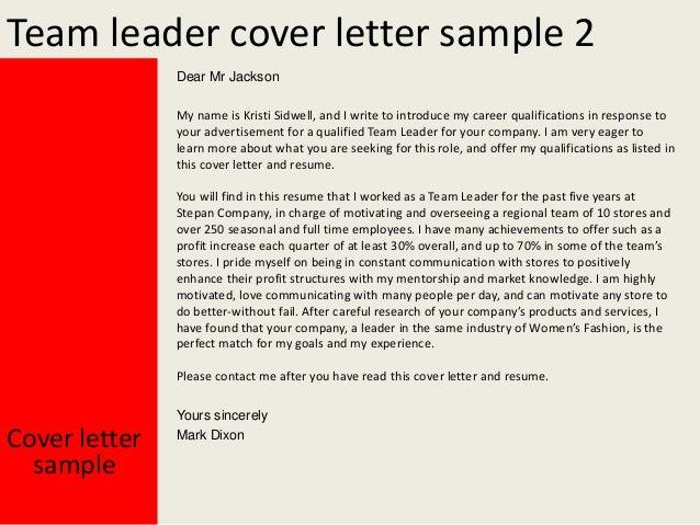 Team Leader Cover Letter .