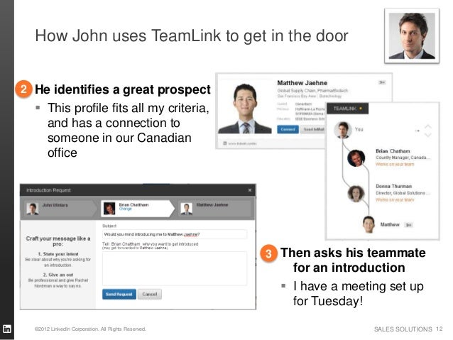 How John uses TeamLink to get in the door2 He identifies a great prospect   This profile fits all my criteria,    and has...