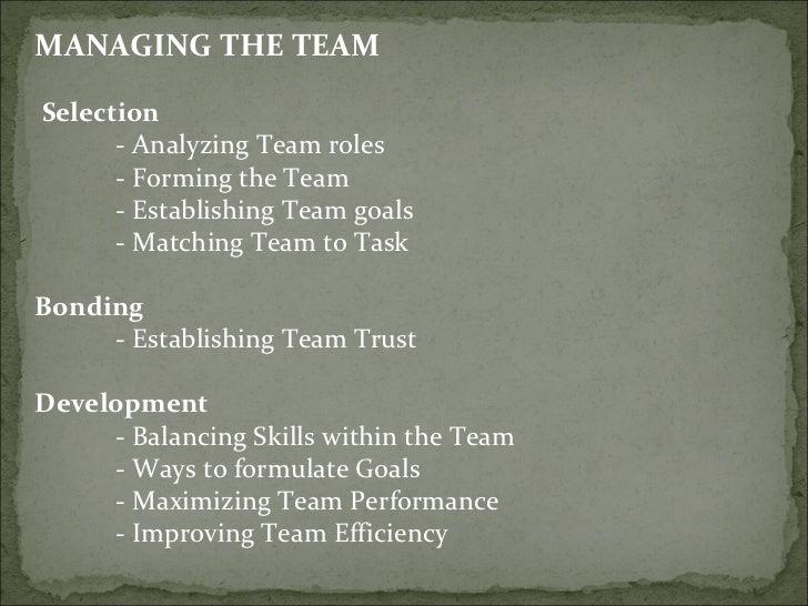 <ul><li>MANAGING THE TEAM </li></ul><ul><li>Selection  </li></ul><ul><li>- Analyzing Team roles  </li></ul><ul><li>- Formi...