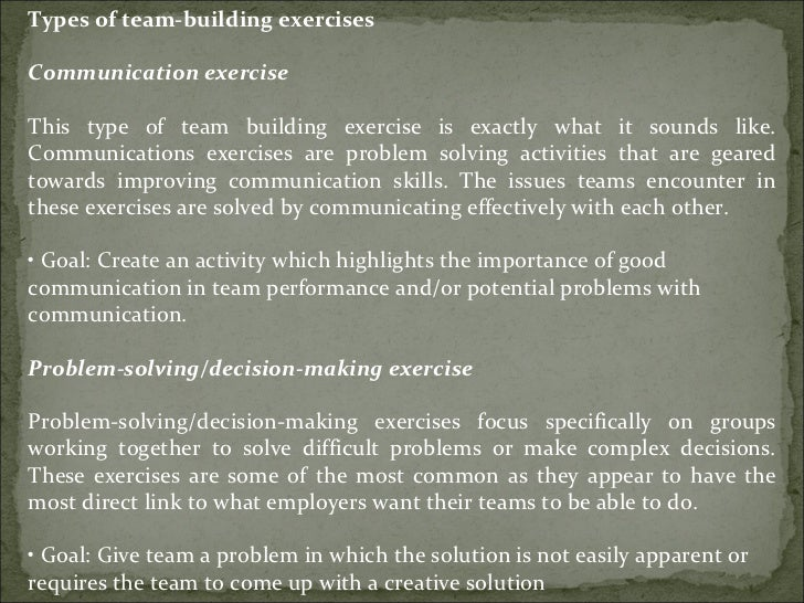 Types of team-building exercises Communication exercise This type of team building exercise is exactly what it sounds like...