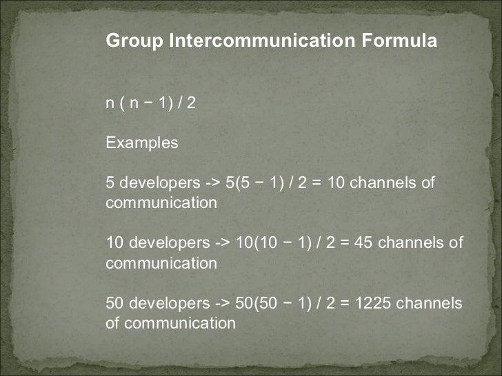 <ul><ul><ul><ul><li>Group Intercommunication Formula  </li></ul></ul></ul></ul><ul><ul><ul><ul><li>n ( n − 1) / 2  </li></...
