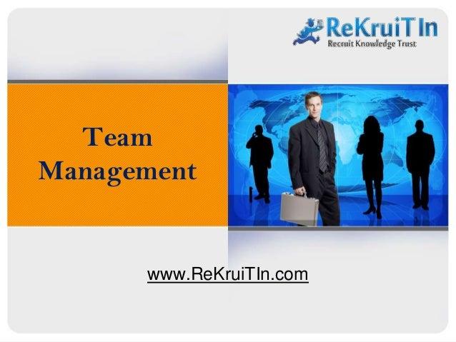 Team Management www.ReKruiTIn.com
