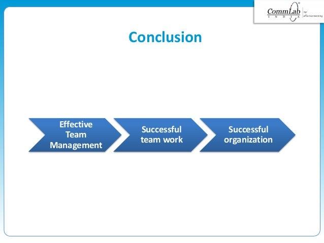 Effective Team Management Successful team work Successful organization Conclusion