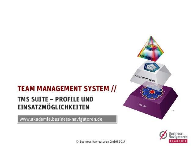 © Business Navigatoren GmbH 2015 TMS SUITE – PROFILE UND EINSATZMÖGLICHKEITEN TEAM MANAGEMENT SYSTEM // www.akademie.busin...