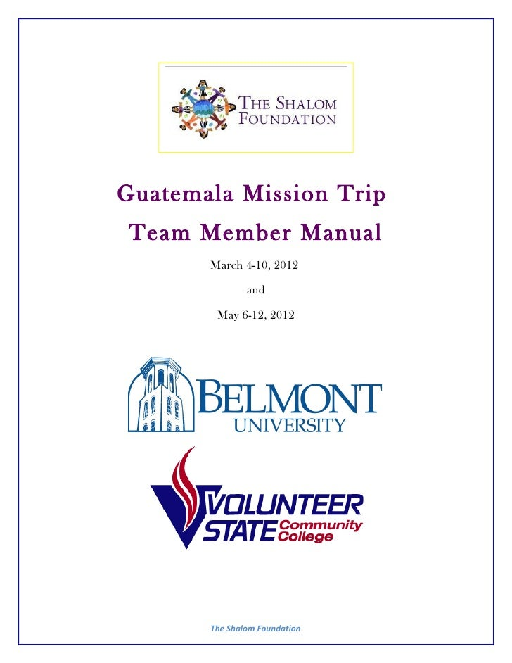 Team Manual - Belmont and Vol State - Spring 2012