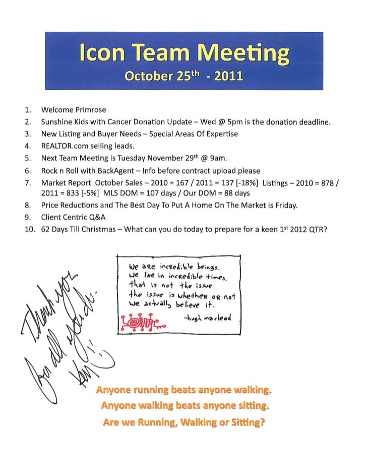 Team Meeting Agenda Notes - Realtor Icons @ Prudential Gary Greene Realtors - The Woodlands TX / Oct. 25th, 2011