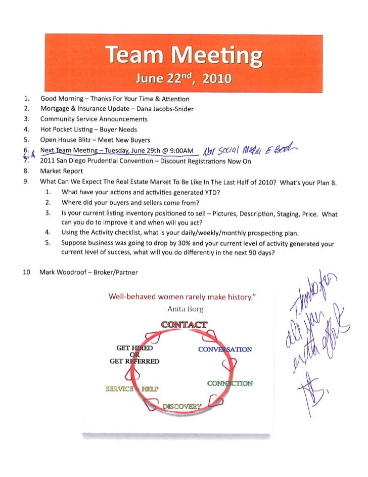 Team Sales Meeting Agenda - The Woodlands Tx, Prudential Gary Greene,…