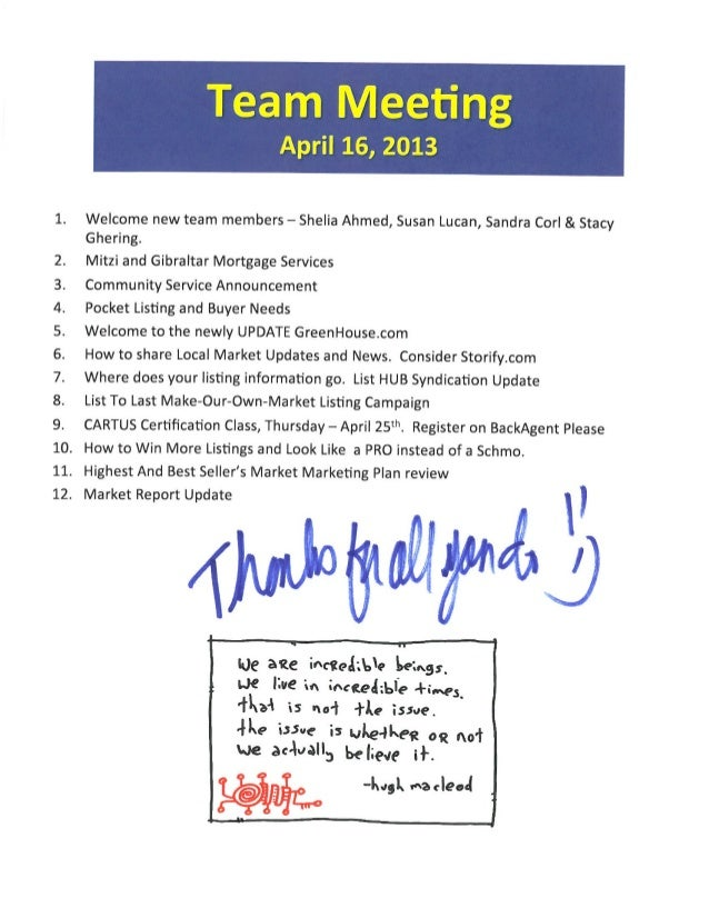 Team Meeting Notes for Better Homes And Gardens Gary Greene Agnet Icons | The Woodlands & Magnolia Marketing Centers