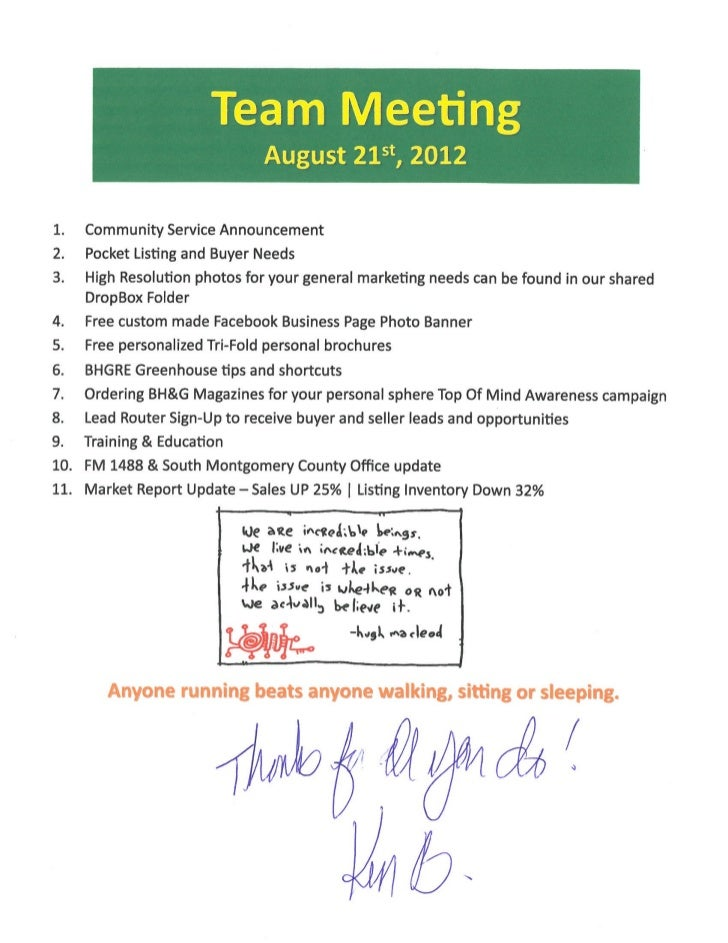 Team Sales Meeting Agenda Notes | Better Homes And Gardens Real Estate Gary  Greene | The ...