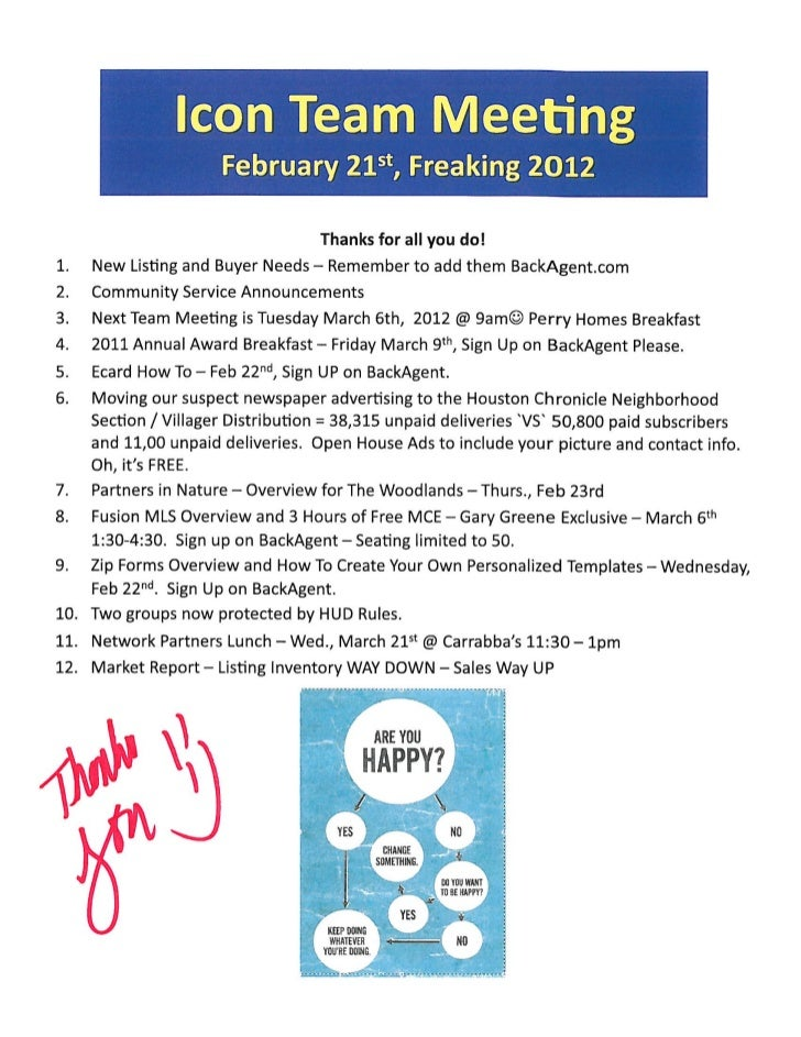 Real Estate Sales Meeting Notes - Prudential Gary Greene, Realtor Icons / The Woodlands TX / February 21st, 2012