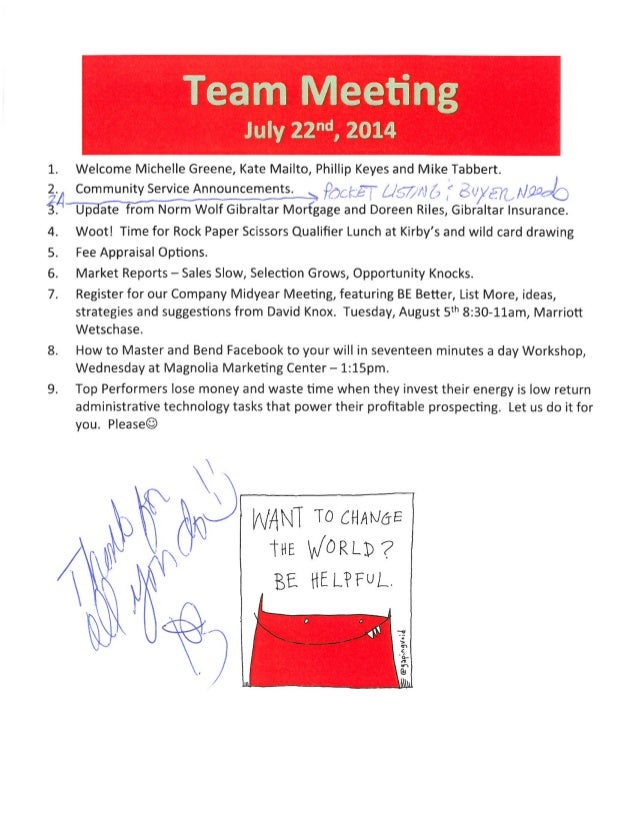 Team meeting agenda notes july 21 2014