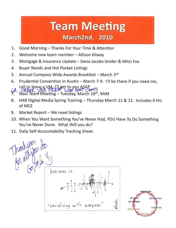 Team Meeting Agenda Notes - Realtor Icons / Prudential Gary Greene, Realtors - The Woodlands TX