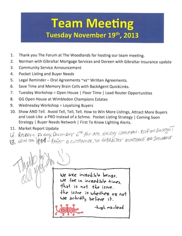 Team Meeting Agenda Notes | BHGRE Gary Greene | November 19th, 2013 | The Woodlands TX