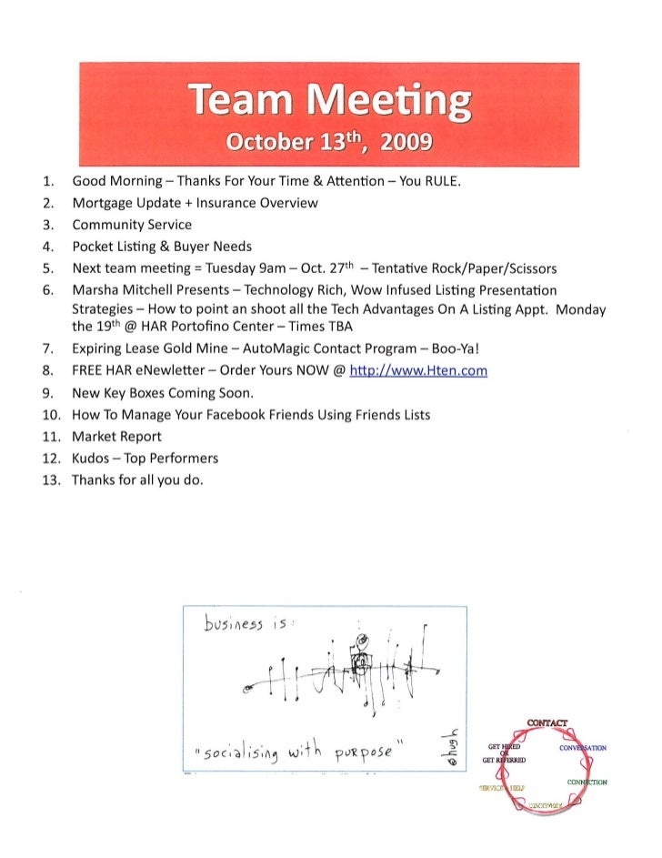 Sales Meeting Agenda Notes - The Woodlands TX / Prudential Gary Greene, Realtor Icons - October 13th 2009