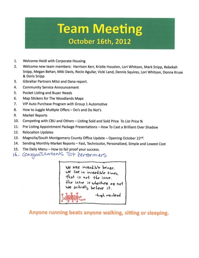 Sales Meeting Agenda Notes | Better Homes And Gardens Real Estate Gar…