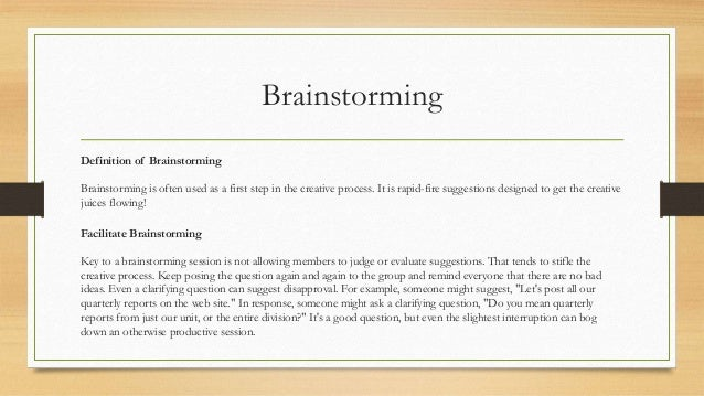 10. Brainstorming Definition ...