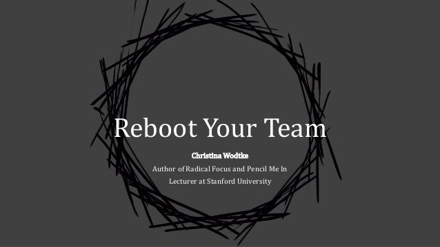 Reboot Your Team Christina Wodtke Author of Radical Focus and Pencil Me In Lecturer at Stanford University