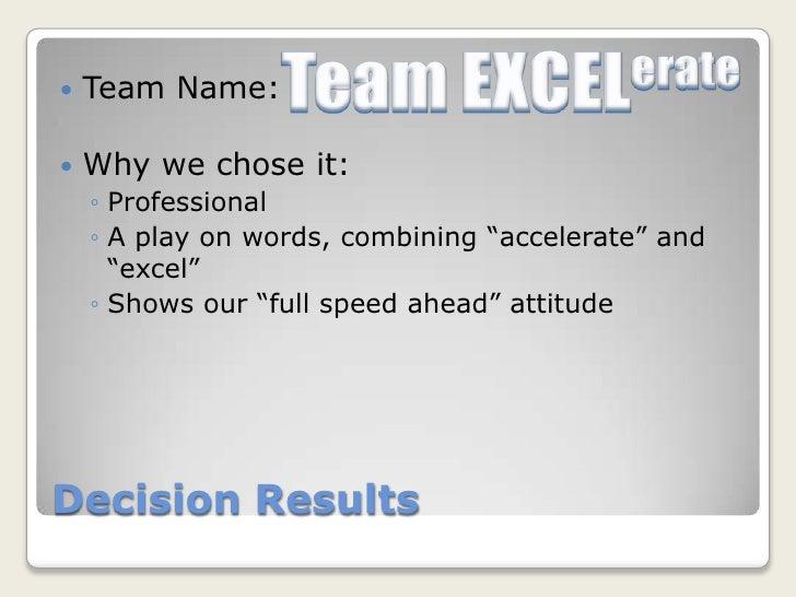 Team name presentation.
