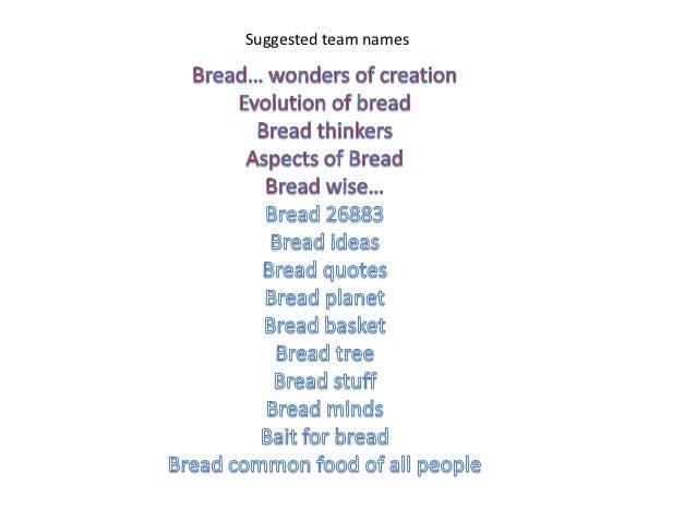 Team Names: Team Names Bread CT