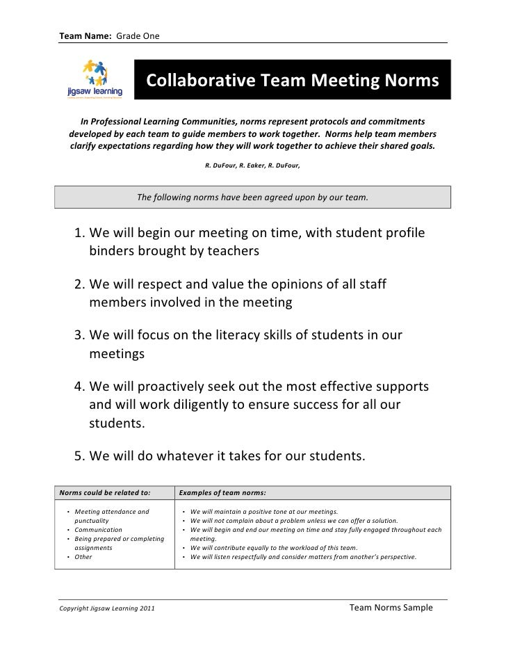 Team Name:  Grade One                                            Collaborative Team Meeting Norms       ...