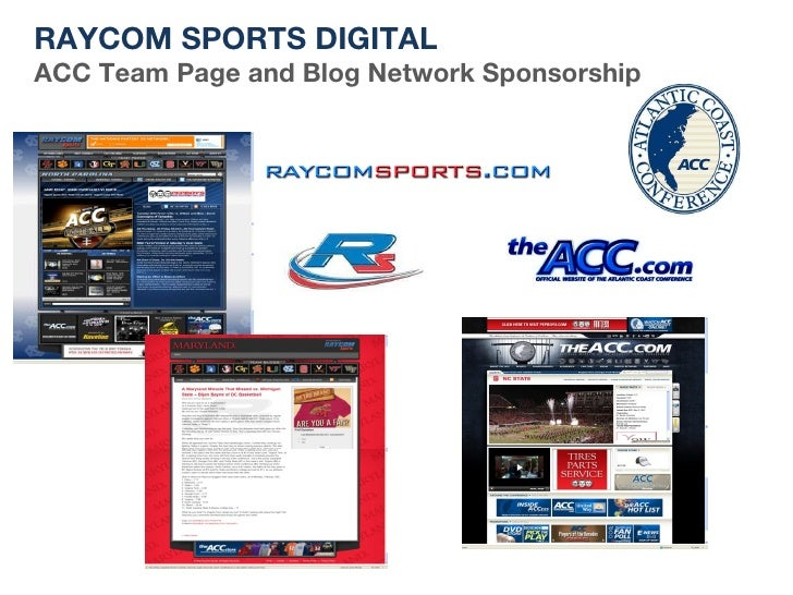 RAYCOM SPORTS DIGITAL ACC Team Page and Blog Network Sponsorship