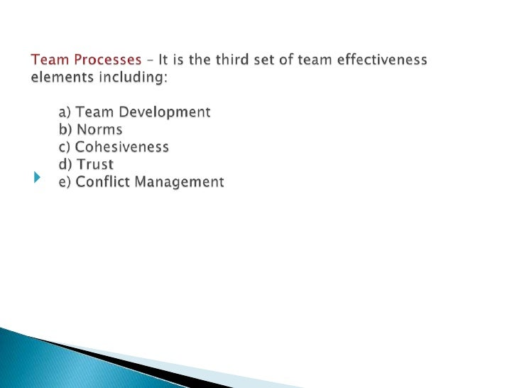 team and team processes Team leadership merits continued attention because leaders have an impact on how the team develops and performs in this article, team processes are explored within self-managed teams that.