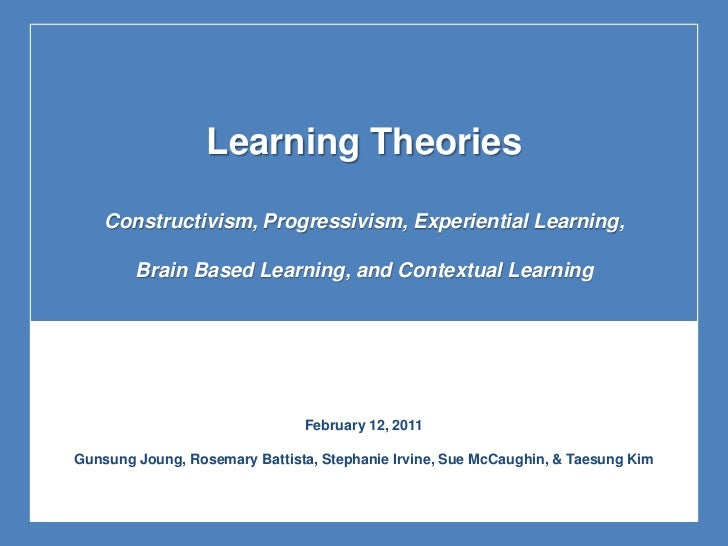 Learning Theories<br />Constructivism, Progressivism, Experiential Learning,<br />Brain Based Learning, and Contextual Lea...