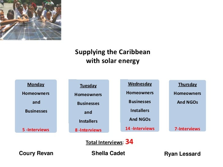 Supplying the Caribbean                    with solar energy   Monday          Tuesday               Wednesday           T...