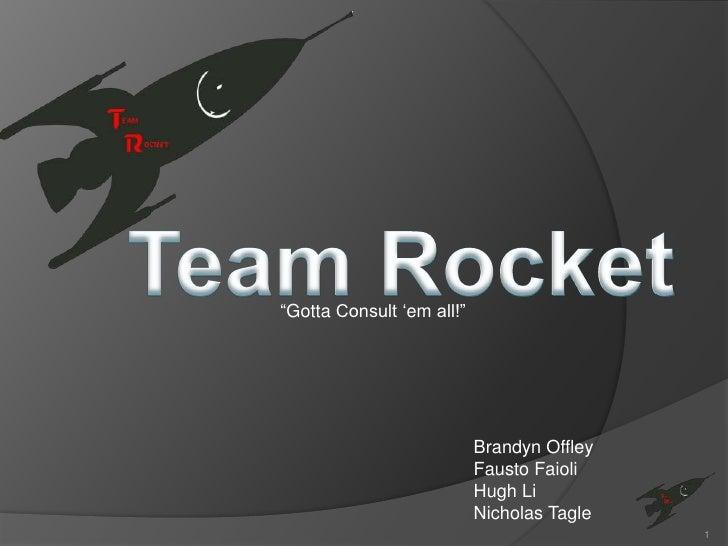 """Team Rocket<br />""""Gotta Consult 'em all!""""<br />BrandynOffley<br />FaustoFaioli<br />Hugh Li<br />Nicholas Tagle<br />1<br />"""