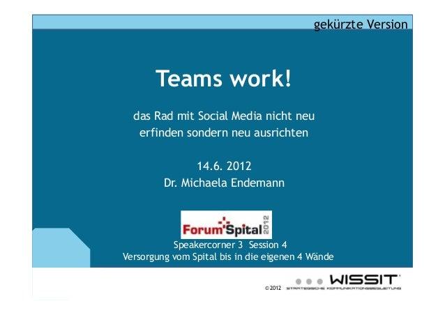 © 2012 Teams work! das Rad mit Social Media nicht neu erfinden sondern neu ausrichten 14.6. 2012 Dr. Michaela Endemann Spe...