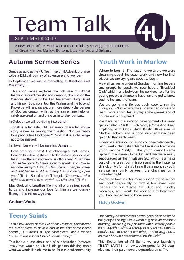Team TalkSEPTEMBER 2017 A newsletter of the Marlow area team ministry serving the communities of Great Marlow, Marlow Bott...