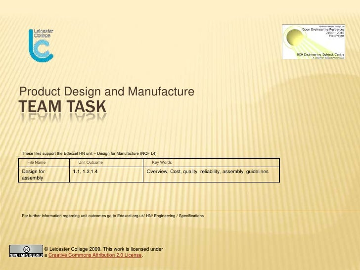 Product Design and Manufacture<br />Team Task<br />These files support the Edexcel HN unit – Design for Manufacture (NQF L...