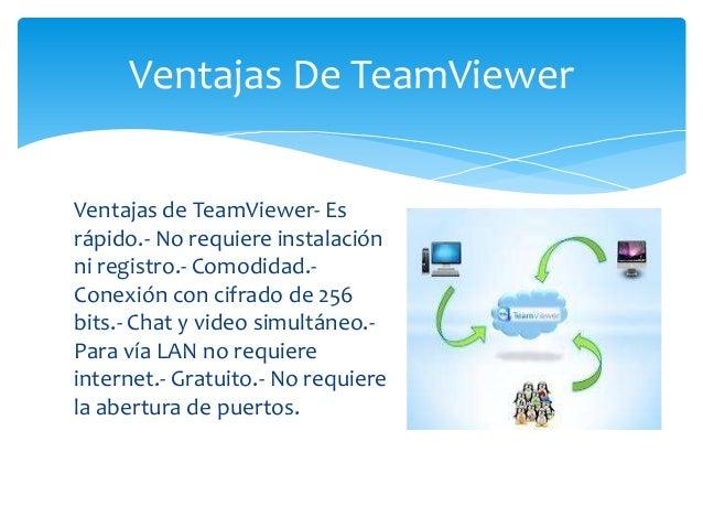 Ventajas de TeamViewer- Es rápido.- No requiere instalación ni registro.- Comodidad.- Conexión con cifrado de 256 bits.- C...