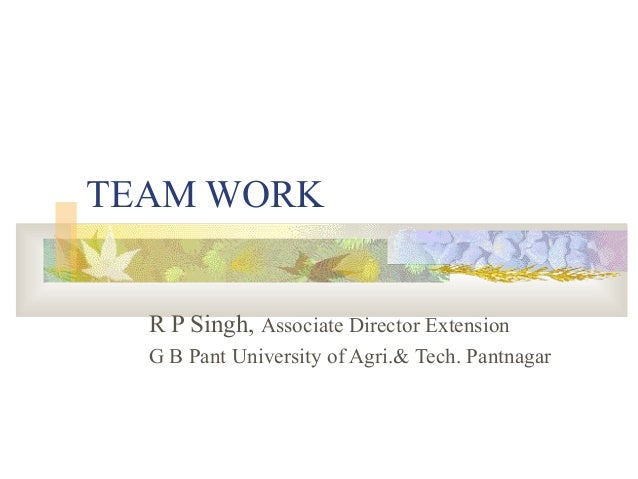 TEAM WORK  R P Singh, Associate Director Extension  G B Pant University of Agri.& Tech. Pantnagar