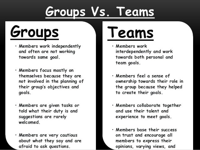 work group vs work team The building of a team requires a great deal more effort than simply recognizing the interdependence among workers and work units it requires, instead, several.