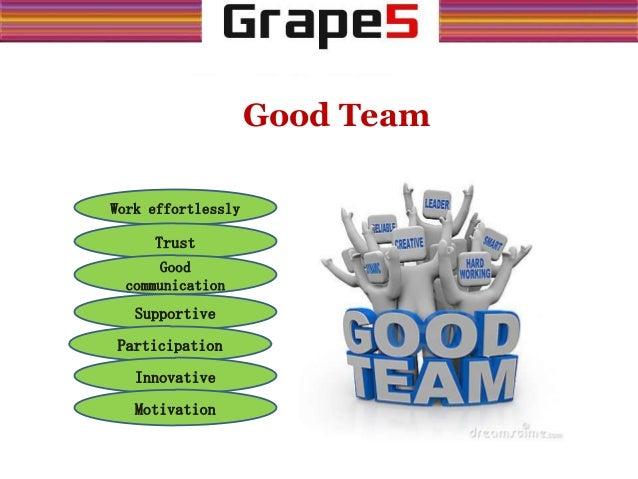 Good Team Work effortlessly Trust Good communication Supportive Participation Innovative Motivation