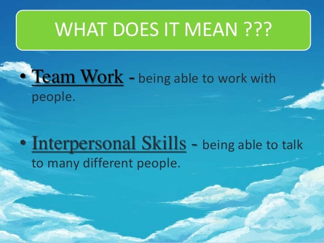 what does it mean to have interpersonal skills