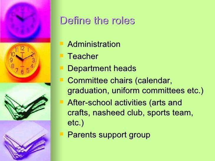 Define the roles <ul><li>Administration </li></ul><ul><li>Teacher </li></ul><ul><li>Department heads </li></ul><ul><li>Com...