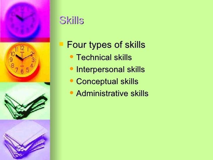 Skills <ul><li>Four types of skills </li></ul><ul><ul><li>Technical skills </li></ul></ul><ul><ul><li>Interpersonal skills...