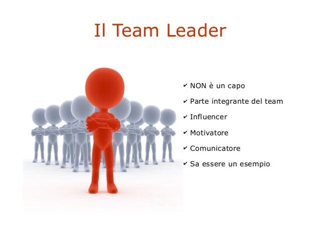 Il Team Leader ✔ NON è un capo ✔ Parte integrante del team ✔ Influencer ✔ Motivatore ✔ Comunicatore ✔ Sa essere un esempio
