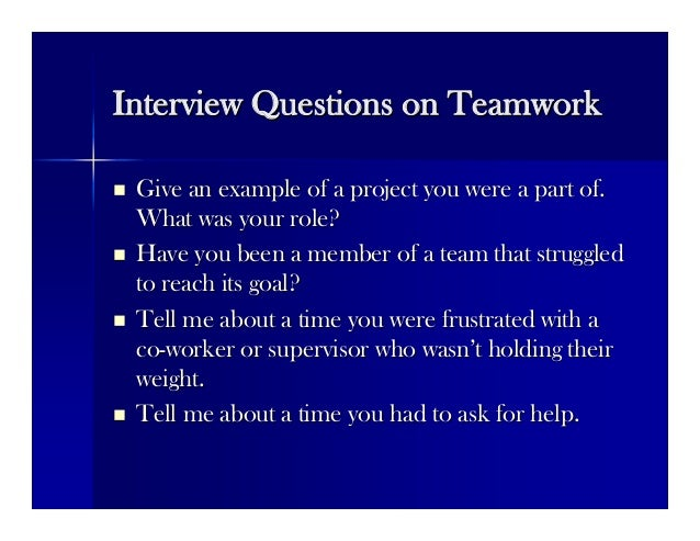 interview questions on teamwork - thelongwayup.info