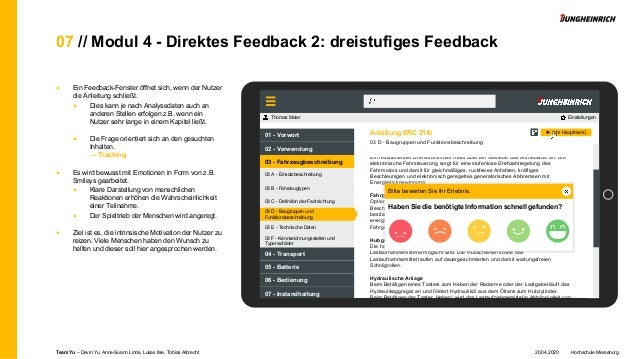07 // Modul 4 - Direktes Feedback 2: dreistufiges Feedback ■ Ein Feedback-Fenster öffnet sich, wenn der Nutzer die Anleitu...