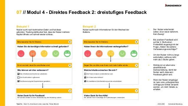 07 // Modul 4 - Direktes Feedback 2: dreistufiges Feedback Beispiel 1 Nutzer sucht nach technischen Daten und hat diese ge...