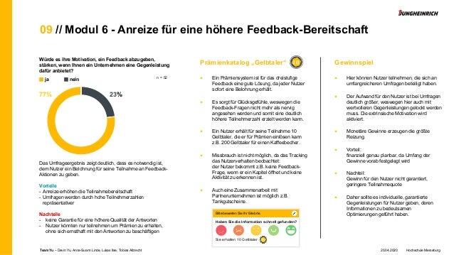 09 // Modul 6 - Anreize für eine höhere Feedback-Bereitschaft Würde es ihre Motivation, ein Feedback abzugeben, stärken, w...