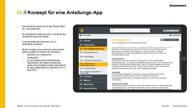 02 // Konzept für eine Anleitungs-App ■ Das Hauptmenü lässt sich mit dem Burger Menü ein- und ausblenden. ■ Ein interaktiv...