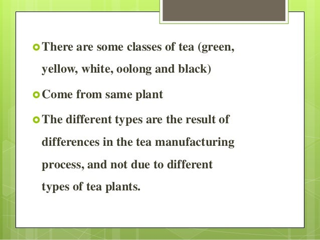 There are some classes of tea (green, yellow, white, oolong and black) Come from same plant The different types are the...