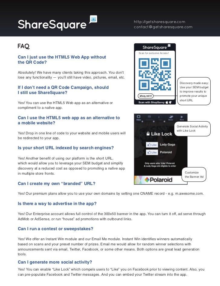 ShareSquare Tear Sheet Overview & HTML5 Web Apps Slide 2